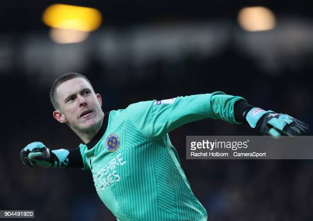 Shrewsbury Town's Dean Henderson celebrates his team scoring the equaliser to make it 11 during the Sky Bet League One match between Blackburn Rovers...