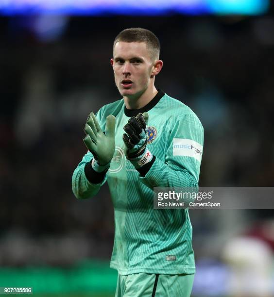 Shrewsbury Town's Dean Henderson during The Emirates FA Cup Third Round Replay match between West Ham United and Shrewsbury Town at London Stadium on...