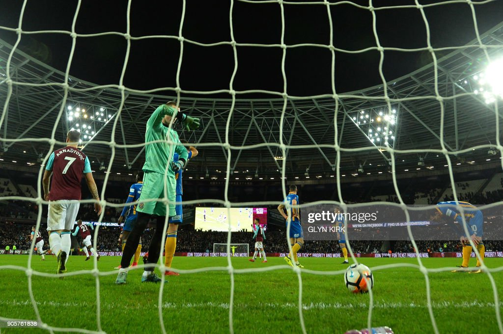 Shrewsbury Town's English goalkeeper Dean Henderson reacts after West Ham United's English defender Reece Burke scores the winning goal during the FA Cup third round replay football match between West Ham United and Shrewsbury Town at The London Stadium, in east London on January 16, 2018. / AFP PHOTO / Glyn KIRK / RESTRICTED TO EDITORIAL USE. No use with unauthorized audio, video, data, fixture lists, club/league logos or 'live' services. Online in-match use limited to 75 images, no video emulation. No use in betting, games or single club/league/player publications. /