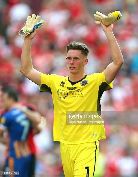 Shrewsbury Town's goalkeeper Dean Henderson acknowledges the fans after the final whistle during the Sky Bet League One Final at Wembley Stadium...