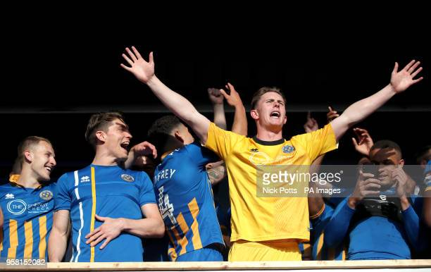 Shrewsbury Town's goalkeeper Dean Henderson celebrates at the end of the Sky Bet League One playoff second leg match at Montgomery Waters Meadow...