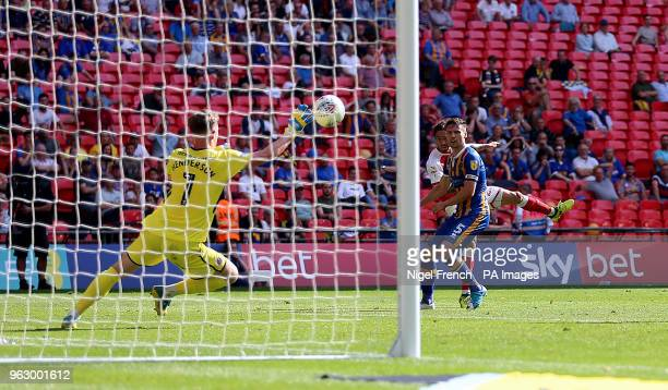Shrewsbury Town's goalkeeper Dean Henderson makes a save from Rotherham United's Ryan Williams during the Sky Bet League One Final at Wembley Stadium...