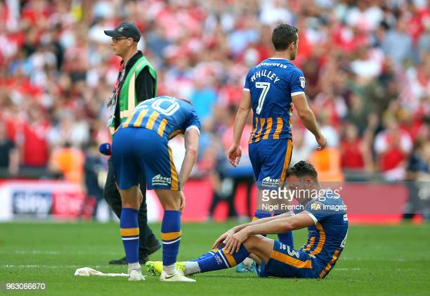 Shrewsbury Town's Jon Nolan and Alex Rodman appear dejected after the final whistle during the Sky Bet League One Final at Wembley Stadium London