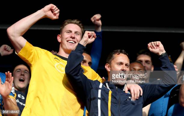 Shrewsbury Town's manager Paul Hurst celebrates with goalkeeper Dean Henderson at the end of the Sky Bet League One playoff second leg match at...