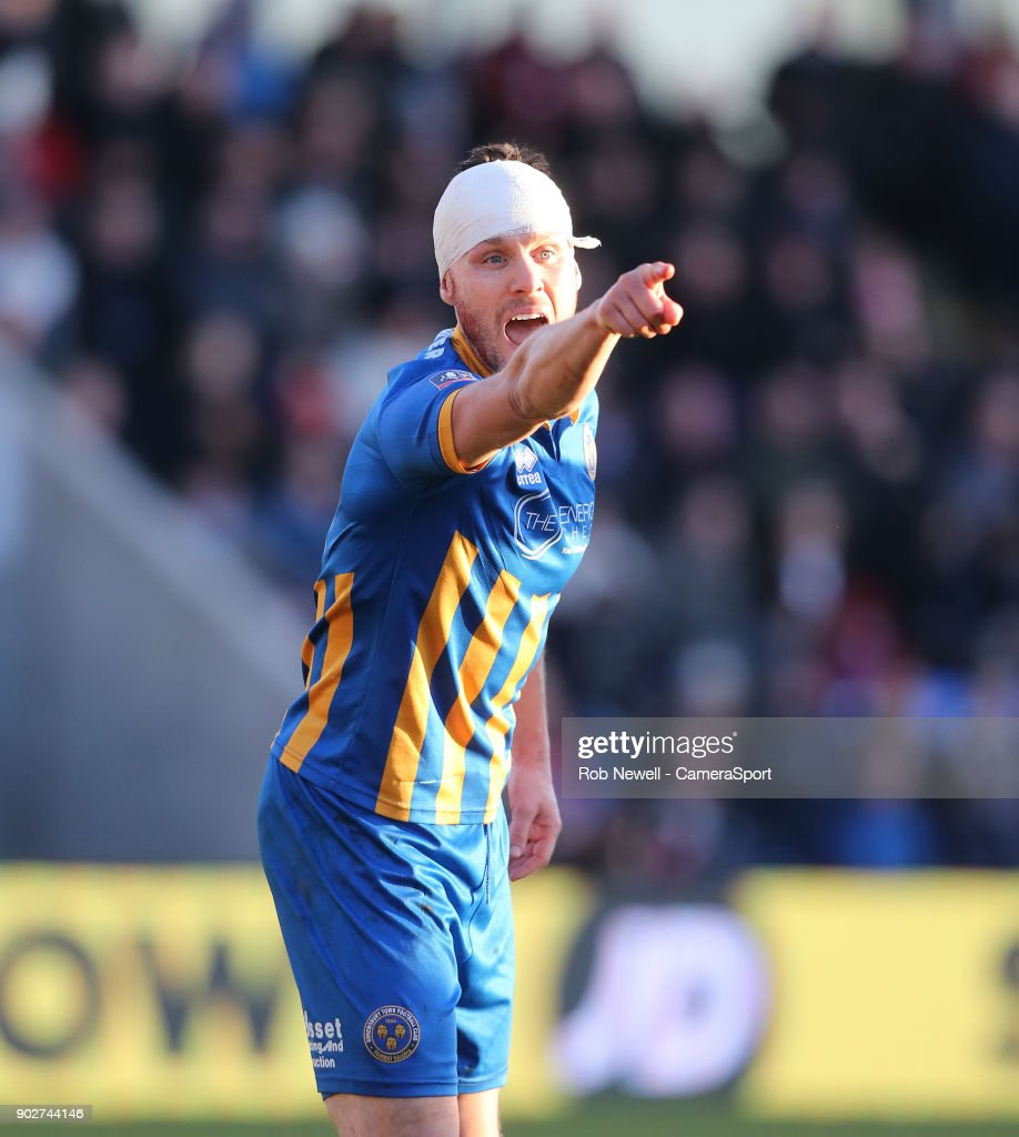 Shrewsbury Town's Mat Sadler during the Emirates FA Cup Third Round match between Shrewsbury Town and West Ham United at New Meadow on January 7, 2018 in Shrewsbury, England.