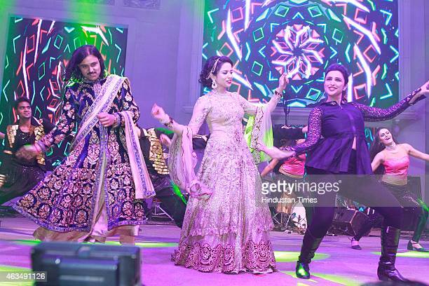 Shrey Aeren and Shaloo Aeren wedding couple dance with Bollywood actor Parineeti Chopra during their wedding reception hosted by Sanjeev Aeren and...