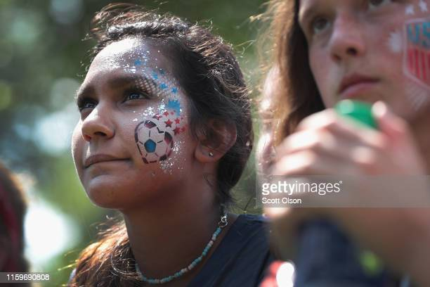 Shreya Jaisingh and Julia Smith watch the US women's national soccer team play England in the Women's World Cup semifinal match at a viewing party...