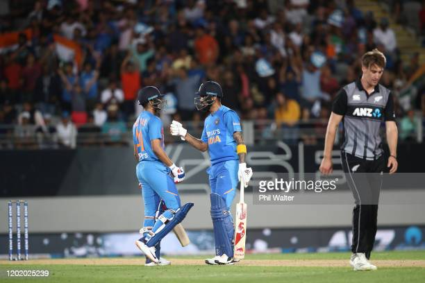 Shreyas Iyer and KL Rahul of India during game two of the Twenty20 series between New Zealand and India at Eden Park on January 26, 2020 in Auckland,...