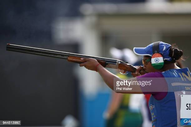 Shreyasi Singh of India competes during the Women's Double Trap Finals on day seven of the Gold Coast 2018 Commonwealth Games at Belmont Shooting...