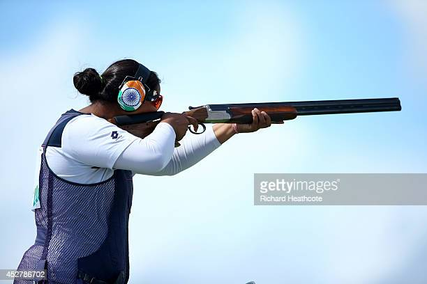 Shreyasi Singh of India in action during the Women's Double Trap final at Barry Buddon Shooting Centre during day four of the Glasgow 2014...
