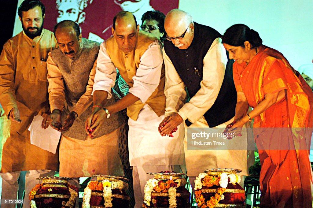 Shri Lal Krishna Advani, Smt Sushma Swaraj and Rajnath Singh at a rally to commemoratethe aniversary of 1857 at parade ground, in New Delhi.