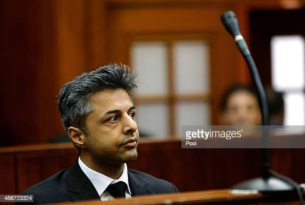 Shrien Dewani appears at Western Cape High Court for the start of his trial on October 6 2014 in Cape Town South Africa The British businessman who...