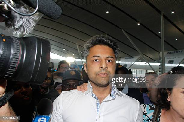 Shrien Dewani at the Cape Town International Airport on December 9 2014 in Cape Town South Africa Dewani was found not guilty of organising his...