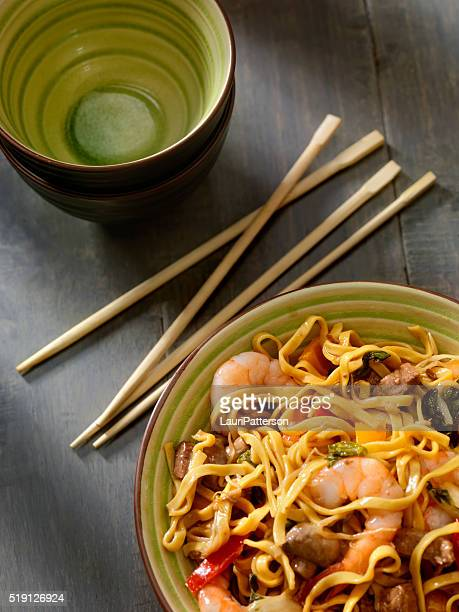Shrimp and Beef Stir Fry with Noodles