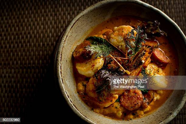 Shrimp and grits is served in a stoneware bowl at Husk in Charleston South Carolina on Friday March 13 2015