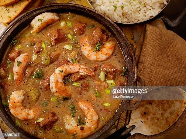 shrimp and sausage gumbo - caribbean culture stock pictures, royalty-free photos & images
