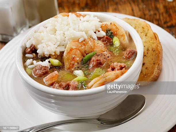 shrimp and sausage gumbo - creole culture stock pictures, royalty-free photos & images