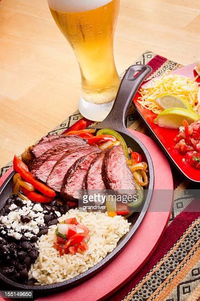 Camarão Fajitas de carne de bovino e Frango
