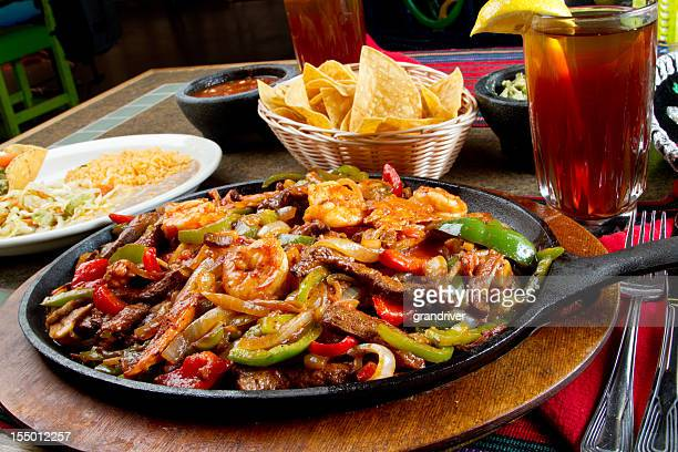Shrimp, Beef and Chicken Mexican Fajitas