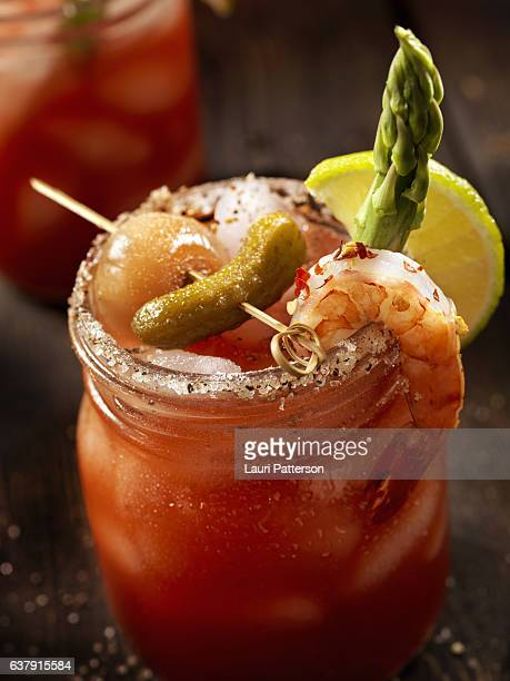 shrimp bloody mary or caesar cocktail - bloody mary stock photos and pictures