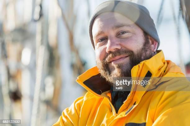 Garnelen Boot Kapitän an deck