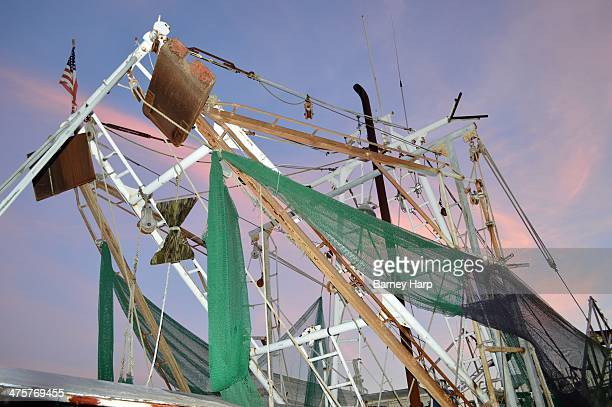 CONTENT] Shrimp boat in Biloxi netting setup and fishing outrigger