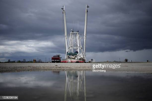 Shrimp boat is pictured near the Gulf of Mexico ahead of Hurricane Laura in Sabine Pass, Texas, U.S., on Tuesday, Aug. 25, 2020. Hurricane Laura is...