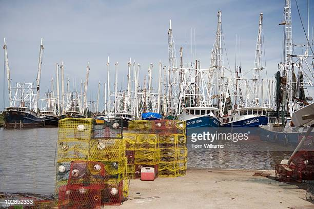 Shrimp boats sit in a marina in Vermilion Parish LA The waters near the parish were closed for seafood harvesting on Monday July 5 due to the oil...