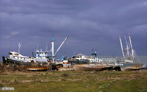 Shrimp boats which were run aground by Hurricane Rita sit on the bank of a canal in Cameron La The town and its fishing industry were decimated by...