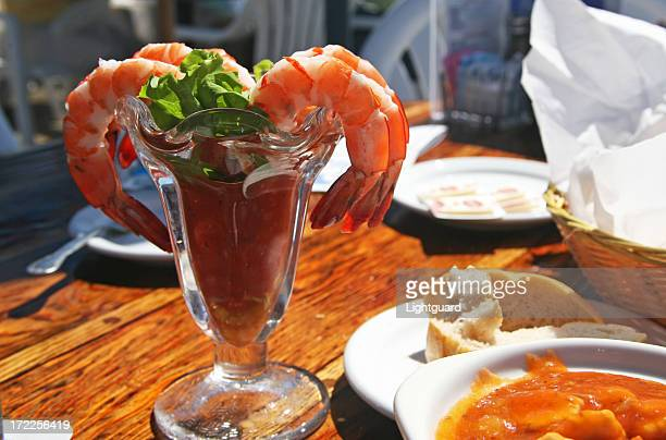 Shrimp cocktail at an outdoor cafe