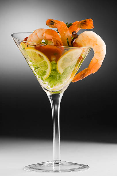 Shrimp cocktail in cocktail glass, studio shot