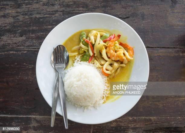 Shrimp curry with rice, Thai food.