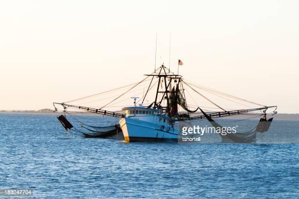 Barca per pesca di gamberetti con reti Out