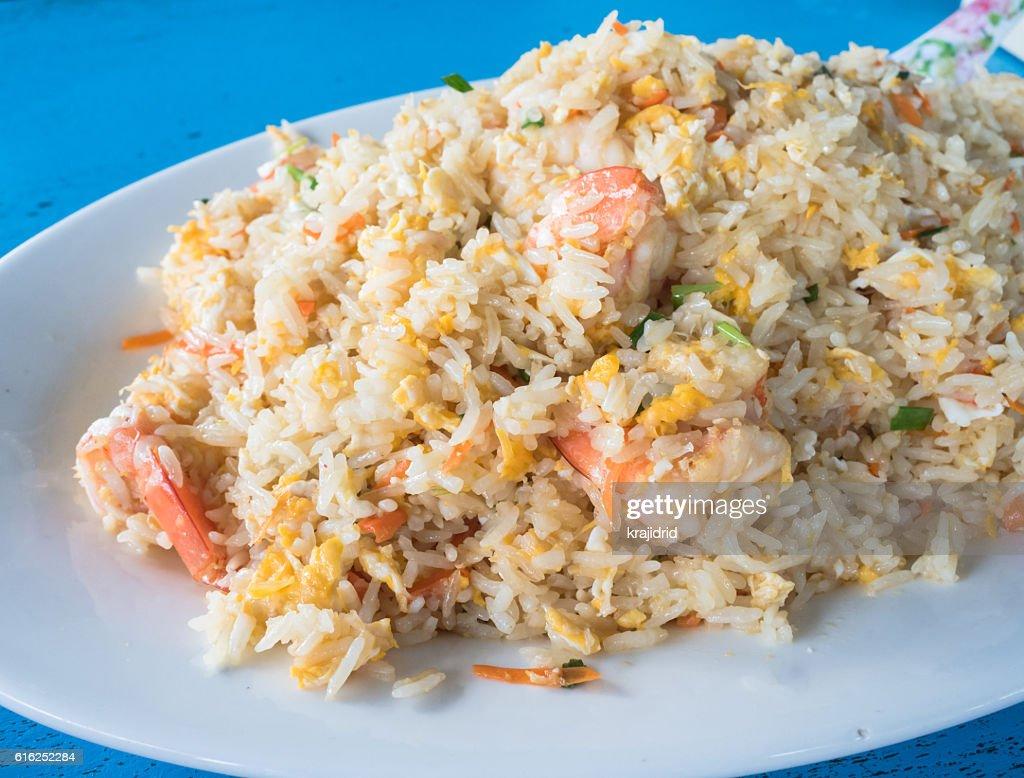 Camarones con arroz frito : Foto de stock