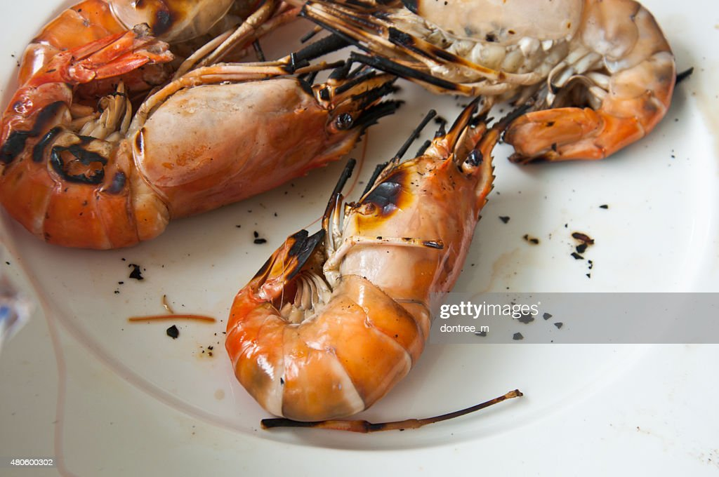 Shrimp on white background : Stock Photo