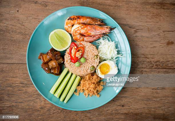 Shrimp past fried rice