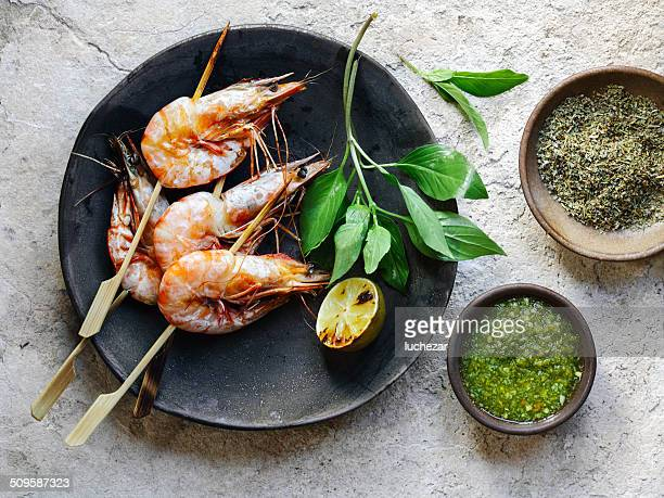 shrimp satay - fresh seafood stock photos and pictures