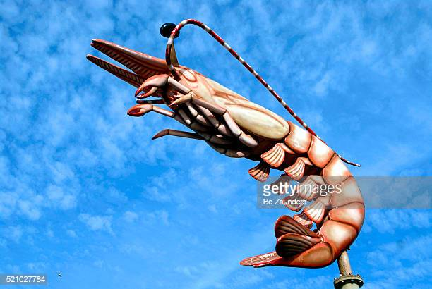 shrimp sculpture on restaurant sign in galveston - bo zaunders stock pictures, royalty-free photos & images