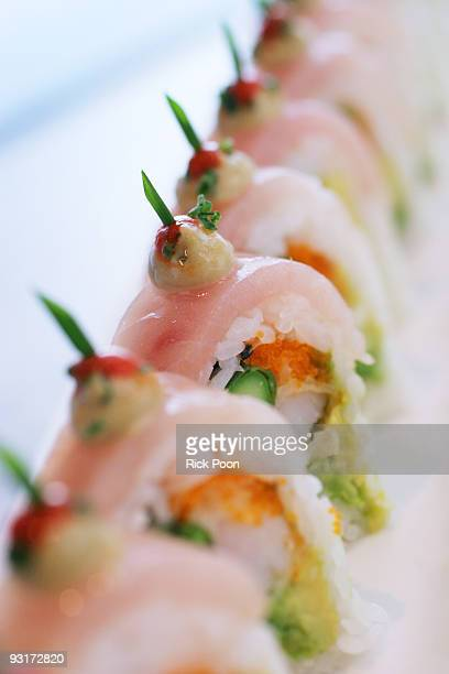 Shrimp tempura roll with albacore tuna