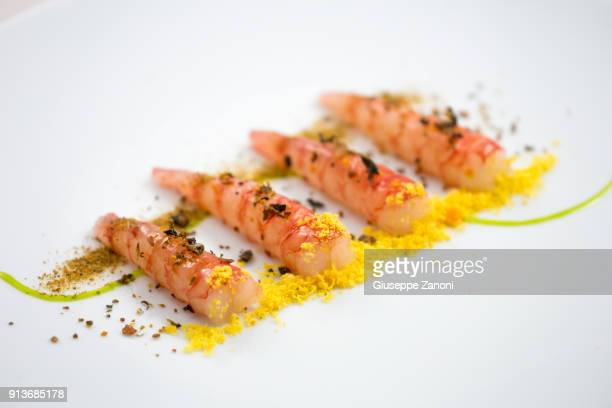 Shrimp with bottarga and egg