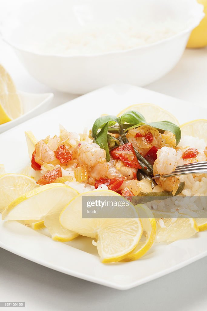 Shrimp with rice : Bildbanksbilder