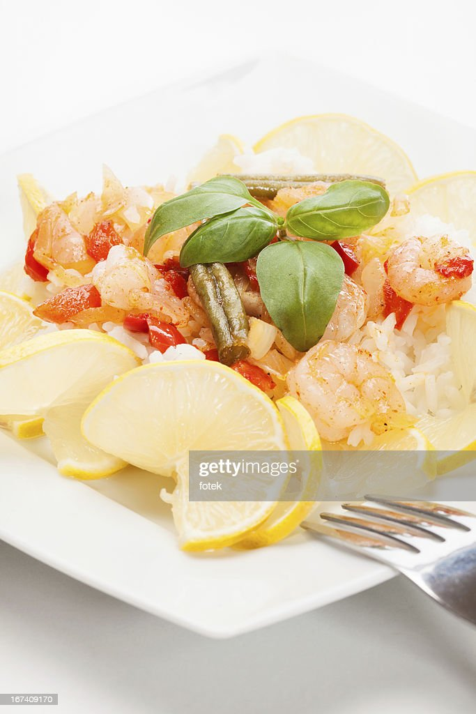 Shrimp with rice : Stock Photo