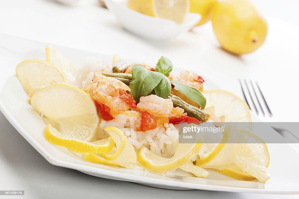 Gamberetti con riso : Foto stock