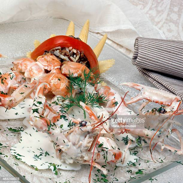 Shrimps and crayfish with sauce