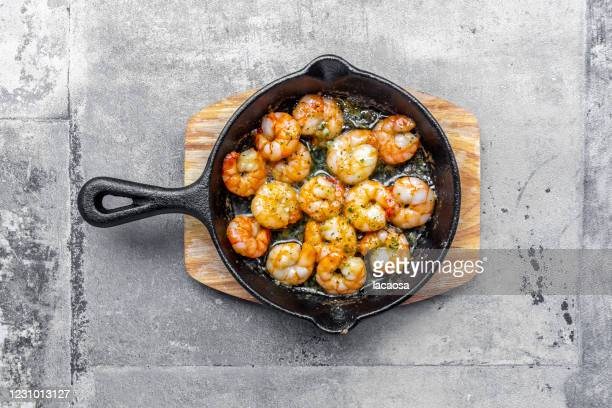 shrimps in a pan - frying pan stock pictures, royalty-free photos & images