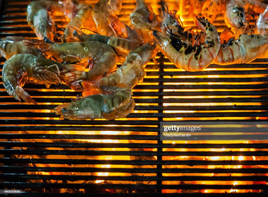 shrimps on the Barbecue Grill : Stock Photo