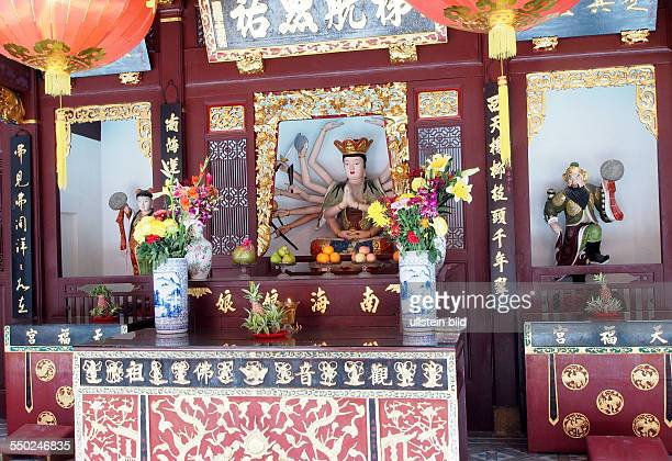 Shrine of Guan Shi Yin Pu Sa Bodhisattva Avalokitesvara and Yue Gong Niang Niang The Moon Goddess and Tai Yang Gong The Sun God at the Thian Hock...