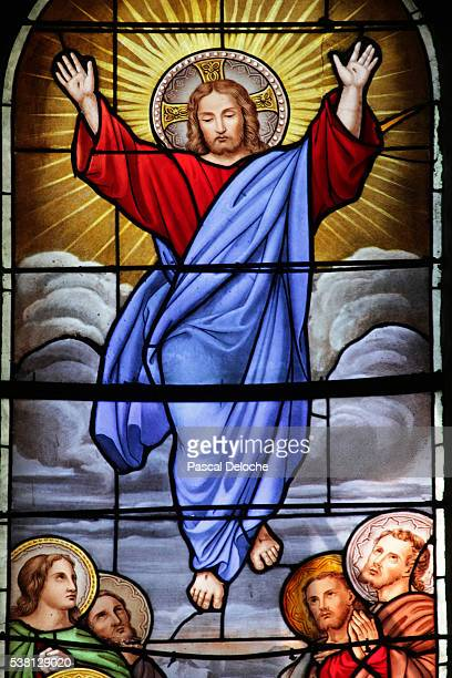 shrine of our lady of la salette stained glass window ascension of christ - feast of the ascension stock pictures, royalty-free photos & images