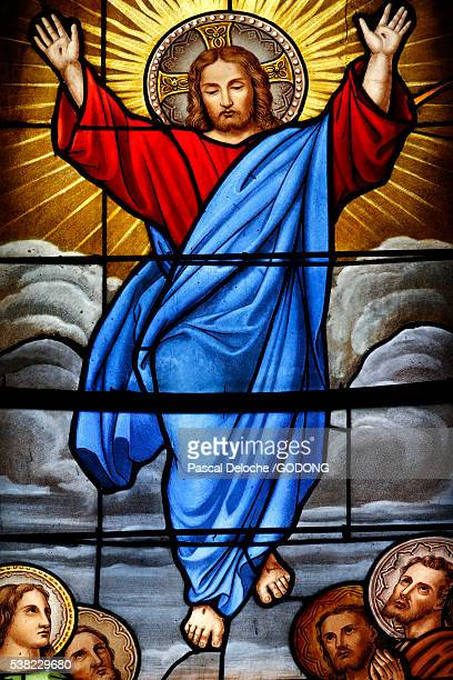 shrine of our lady of la salette. stained glass window. ascension of christ. - ascension of jesus christ photos et images de collection