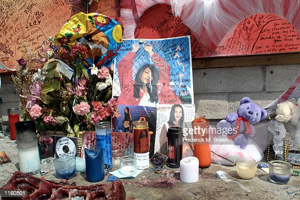 A shrine to the singer Aaliyah on Sunset Boulevard August 31 2001 in Los Angeles CA The singer died a week earlier in a plane crash while taking off...